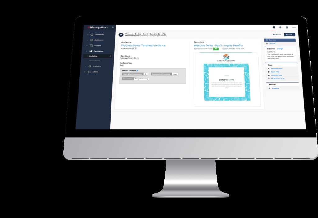 Snapshot of enterprise email marketing software UI
